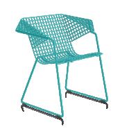 Fauteuil  GRID 55 - résille métal turquoise