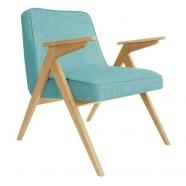 fauteuil bunny - 366 concept - loft turquoise chiné teinte chêne - design polonais