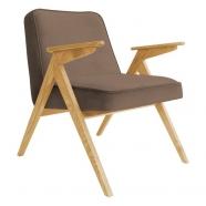 fauteuil bunny - 366 concept - velvet - velours taupe teinte chêne - design polonais