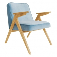 fauteuil bunny - 366 concept - velvet - velours bleu ciel teinte chêne - design polonais
