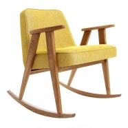 """rocking chair """"366"""" - Jozef Chierowski- 366 concept - loft - chiné moutarde teinte chêne foncé. - design polonais"""