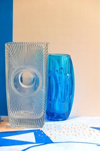 vase tcheque vintage verre de boheme des annees 70 Hotel Praha slavia vintage