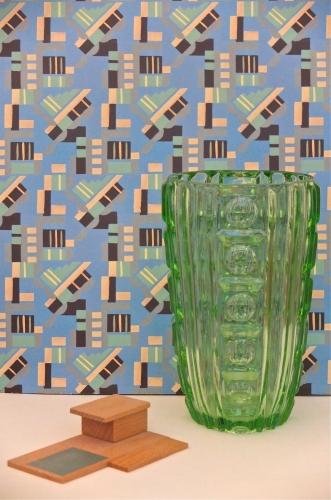 """vase en verre des années 60 """"Absinthe"""" Slavia Vintage"""